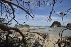 Beauté de nature Roche de plage le jour ensoleillé images libres de droits