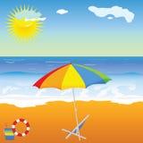 Beauté de plage avec le vecteur de parapluie Images libres de droits