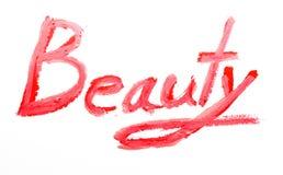 Beauté de rouge à lèvres d'inscription Image stock