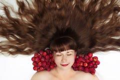 Beauté de sommeil avec la vue supérieure de longs cheveux Photo libre de droits