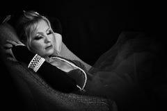 Beauté de sommeil en noir et blanc Photo stock
