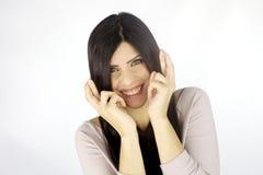 Beauté de sourire recherchant la chance photo stock
