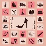 Beauté, ensemble d'icône de dame Images libres de droits
