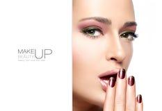 Beauté et concept de maquillage Maquillage d'Autumn Winter Fashion Photographie stock libre de droits