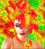 Beauté et mode plus les plumes et le fond colorés Photos stock