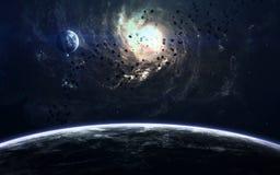 Beauté, planètes, étoiles et galaxies d'espace lointain en univers sans fin Éléments de cette image meublés par la NASA Photographie stock libre de droits