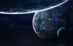 Beauté, planètes, étoiles et galaxies d'espace lointain en univers sans fin Éléments de cette image meublés par la NASA Photos libres de droits