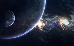 Beauté, planètes, étoiles et galaxies d'espace lointain en univers sans fin Éléments de cette image meublés par la NASA Photo libre de droits