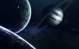 Beauté, planètes, étoiles et galaxies d'espace lointain en univers sans fin Éléments de cette image meublés par la NASA Images libres de droits