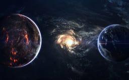 Beauté, planètes, étoiles et galaxies d'espace lointain en univers sans fin Éléments de cette image meublés par la NASA Photos stock