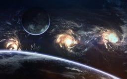 Beauté, planètes, étoiles et galaxies d'espace lointain en univers sans fin Éléments de cette image meublés par la NASA Photo stock