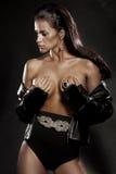Beauté renversante sexy de brune dans une pose romantique Image libre de droits