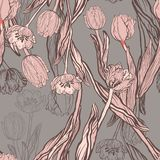 Beauteous coral tulips with butterflies seamless pattern stock illustration