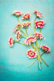 Beauteous pink flowers bunch on shabby chic blue turquoise background, top view. Greeting card Stock Photos
