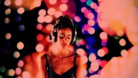 Beautfiul female DJ stock footage