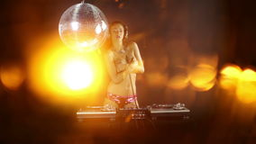 Beautfiul female DJ stock footage