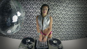 Beautfiul female DJ stock video