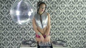 Beautfiul female DJ stock video footage