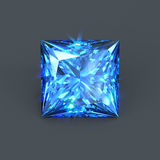 Beautfiul sapphire square cut. Isolated square cutting blue sapphire shining with sparkling dazzling glares. Unmounted royal cobalt color gemstone Royalty Free Stock Photos