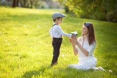 Beautful孩子和妈妈在春天停放,开花并且出席 母亲 库存图片