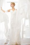 Beautful Bride in White Wedding Dress Stock Photography