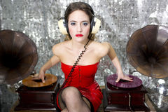 Beautful disco dj with gramophones Royalty Free Stock Photography
