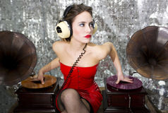 Beautful disco dj with gramophones Stock Photography