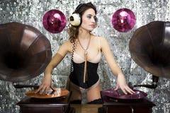 Beautful disco dj with gramophones Stock Photo