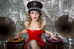 Beautful disco dj with gramophones stock image