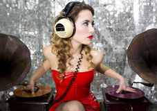 Beautful disco dj with gramophones Royalty Free Stock Photo