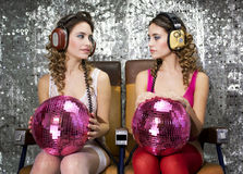 Beautful disco twins Stock Photos
