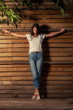 Beautful female model on crucified position Royalty Free Stock Photography