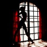 Beautful Frau nahe Fenster in ihrem Raum Lizenzfreie Stockfotos