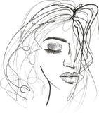 Beautful kobiety nakreślenie z upaćkanym włosy ilustracji