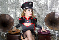 Beautful military disco dj with gramophones Stock Photography