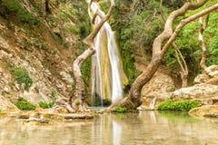 Beautful Neda在希腊 神话瀑布 免版税库存图片