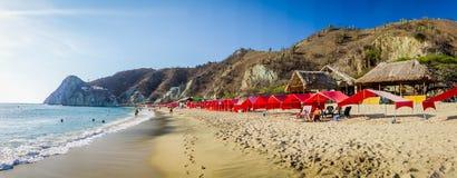 Beautful Playa布朗卡海滩全景视图  免版税图库摄影
