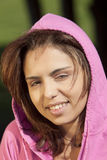 Beautful Young Woman Wearing a pink Hood Stock Photography