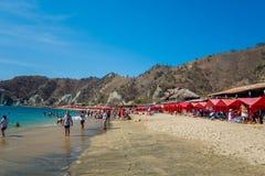 Beautfulmening van Playa-Blanca strand in Santa Marta Stock Fotografie