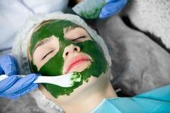 Beautician делает терапевтическую маску курорта Стоковые Изображения
