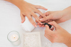 Beautician applying nail varnish to female client's nails Stock Photos