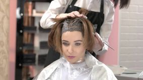 Beautician and client, hair dying. Pretty woman in beauty salon stock footage