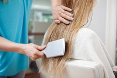 Beautician Combing Hair Of Customer Stock Image