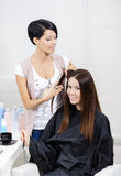 Beautician cuts hair of woman in hairdressing salon Stock Photos