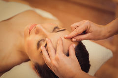 Beautician doing facial massage for client Royalty Free Stock Photography