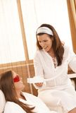 Beautician doing tooth whitening Stock Image