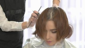 Beautician dying hair of woman. Girl in beauty salon stock video footage