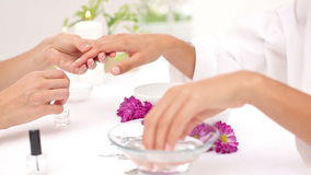 Beautician filing female clients nails at spa beauty salon stock footage