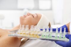Cosmetic ampoules. royalty free stock photo
