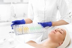 Cosmetics in an ampoule. stock photo